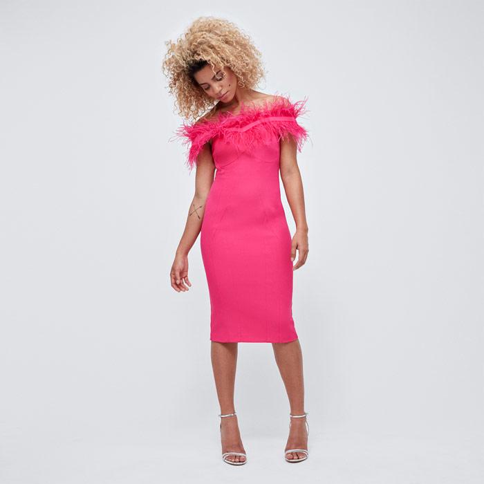 Pink Feather Bardot Dress