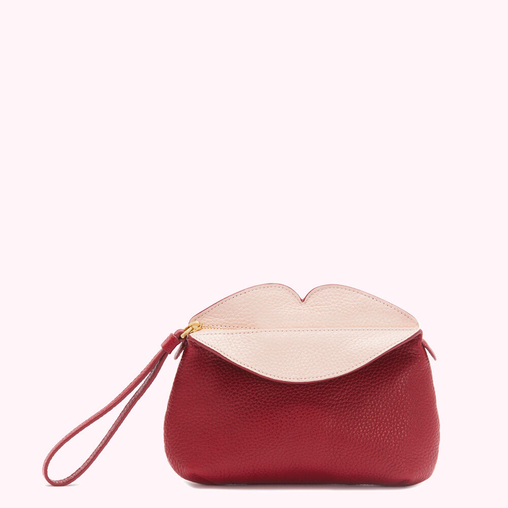 CHINA RED LEATHER CLOVER CLUTCH £145.00