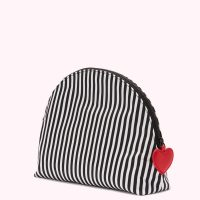 Lulu Guinness Heart And Stripes Nylon Crescent Pouch Black White