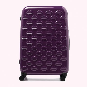 Lulu Guinness Purple Large Hardsided Spinner Case