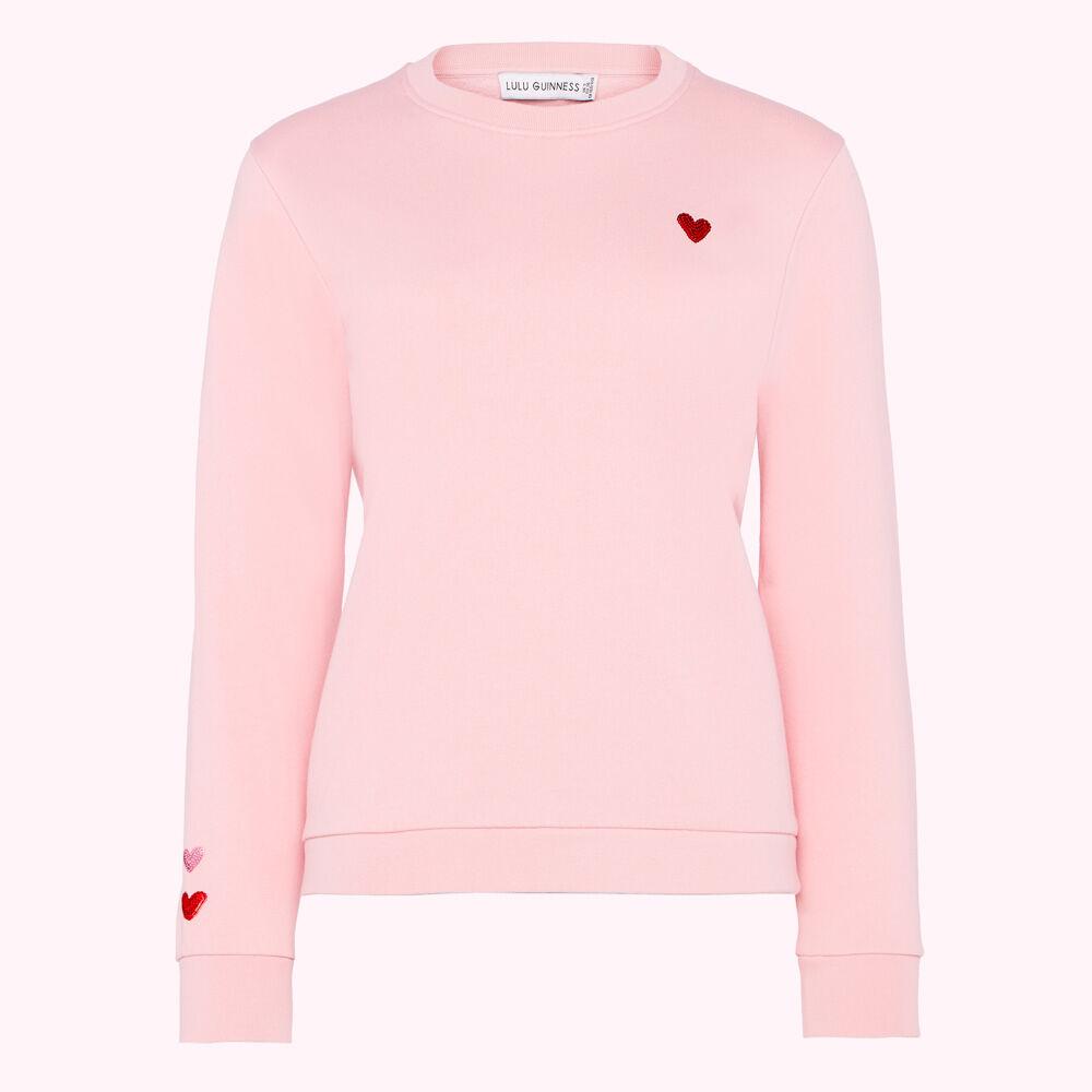 DUSKY PINK SEQUIN HEARTS SAMI SWEATSHIRT £95.00