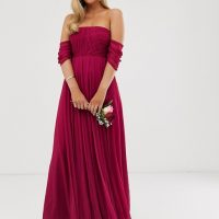 ASOS DESIGN Bridesmaid bardot ruched pleated maxi dress, Winter berry red