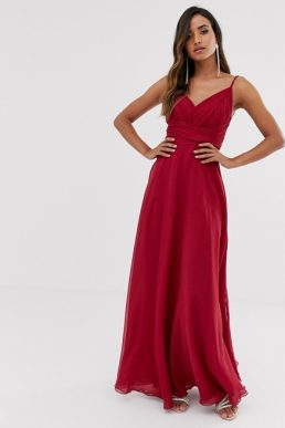 ASOS DESIGN Bridesmaid cami maxi dress ruched bodice tie waist Winter berry red