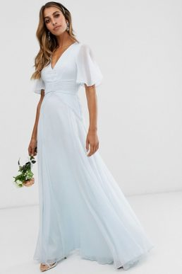 ASOS DESIGN Bridesmaid flutter sleeve maxi dress with pleated waist Sky blue