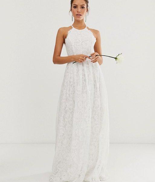 Asos Edition Lace Halter Neck Maxi Wedding Dress Ivory