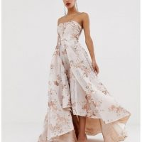Bariano embellished bandeau mesh and sequin ball gown in rose gold