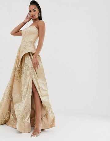 Bariano strapless glitter ballgown in rose gold gold