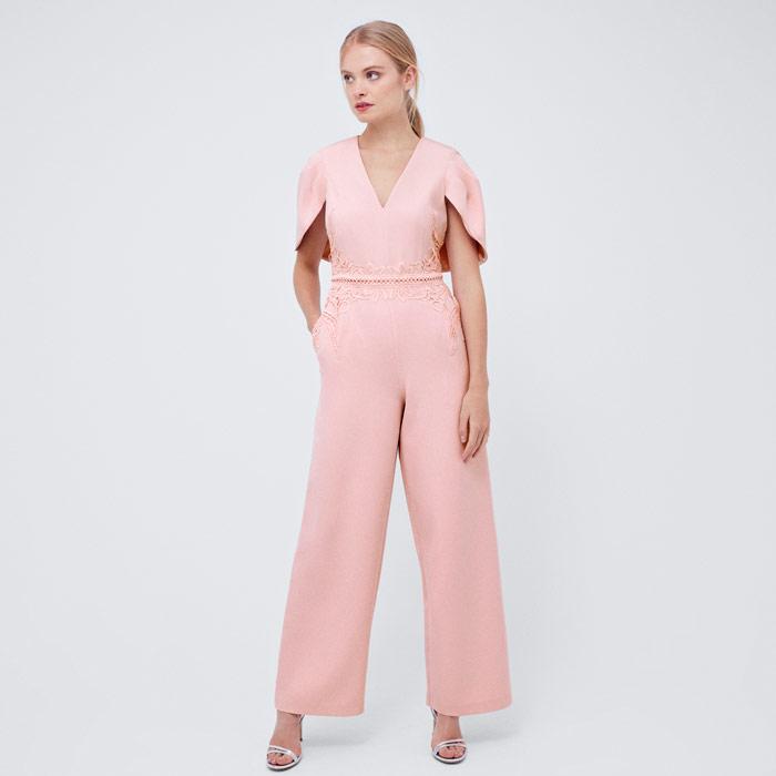 Blush Lace Belt Jumpsuit