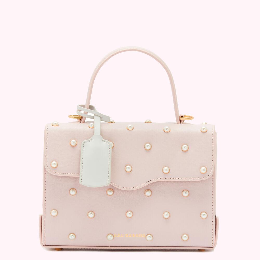 Lulu Guinness Blush Pearl Leather Queenie Handbag Pink