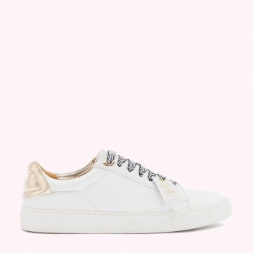 Chalk And Gold Leather Natasha Trainers, White