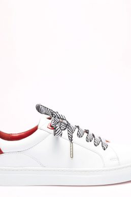 Chalk And Gold Leather Natasha Trainers White Red