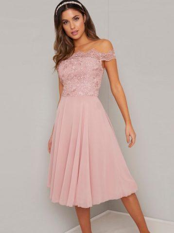 Chi Chi Colby Bardot Lace Dress Pink