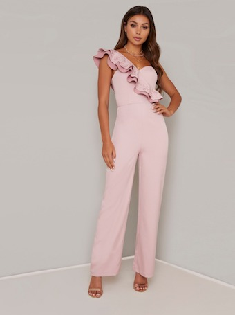 select for best hot-selling hot new products Chi Chi Erica Ruffle One Shoulder Jumpsuit, Blush/Pale Pink