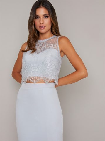 Chi Chi Lace Cropped Michaela Top, Pale Blue