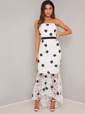 Chi Chi Lavender Floral Lace Dress Blackwhite