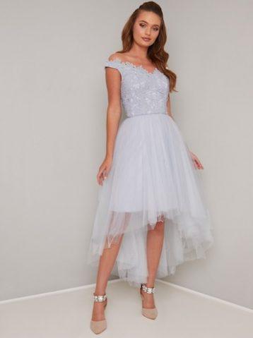 Chi Chi Linnet Lace Tulle Bardot Dress Pale Blue