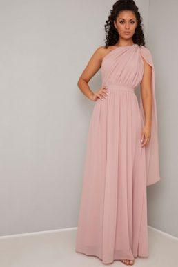 Chi Chi Petria One Shoulder Pleat Dress Pink Blush