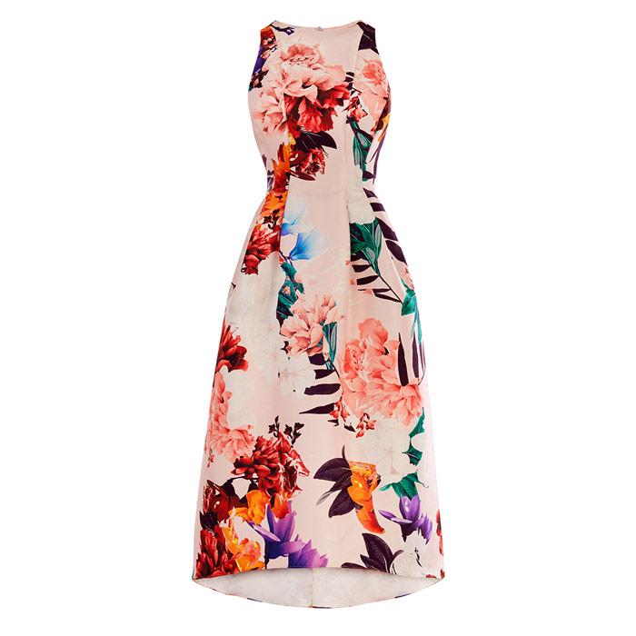 Blush Floral Full Midi Dress