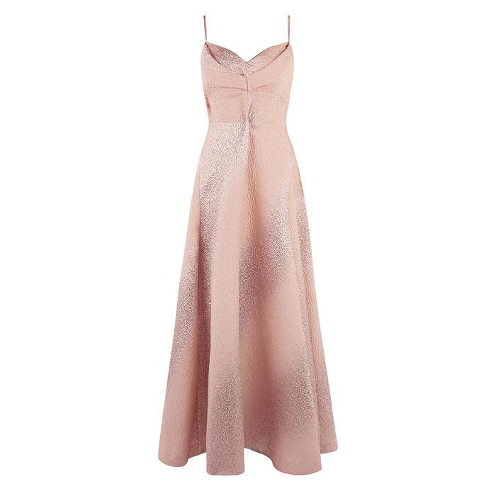 Rose Gold Textured Maxi Dress