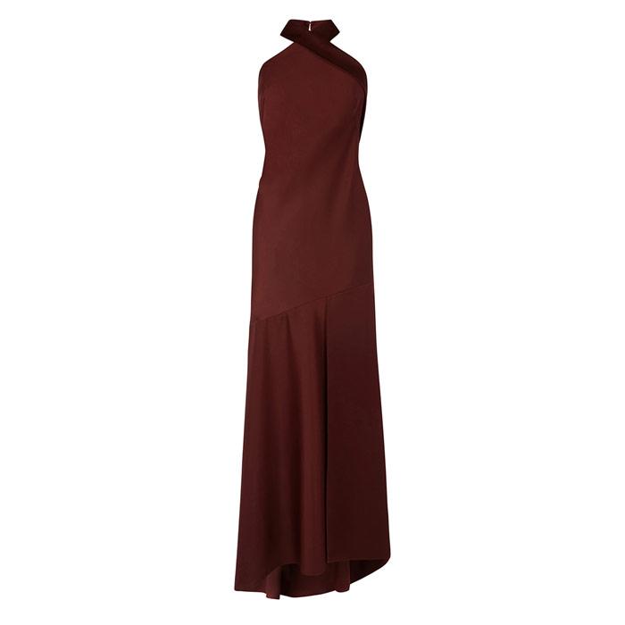 Halter Satin Maxi Dress