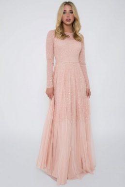 Lace & Beads Sila Embellished Pink Maxi Dress Pink Blush