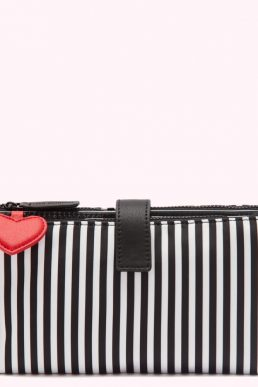 Lulu Guinness Heart And Stripes Nylon Make Up Bag Black White