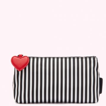 Lulu Guinness Heart And Stripes Nylon T-Steam Case Black White