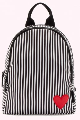 Lulu Guinness Heart And Stripes Nylon Sadie Backpack, Black/White