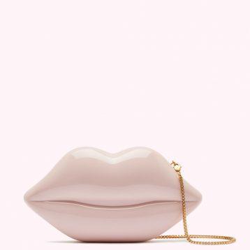 Lulu Guinness Nude Medium Lips Clutch Blush Pink