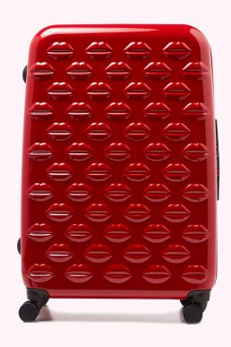 Lulu Guinness Red Large Hardsided Spinner Case