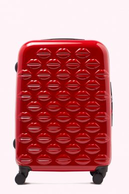 Lulu Guinness Red Medium Hardsided Spinner Case
