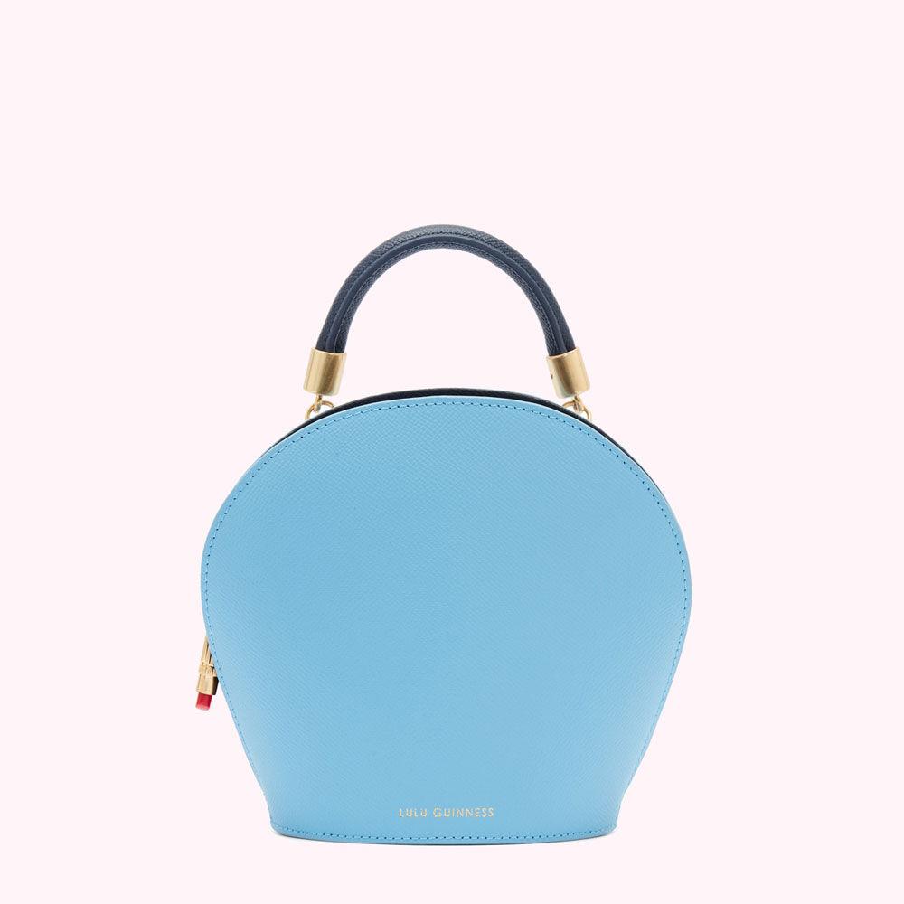 Lulu Guinness Oyster Leather Willow Handbag Blue