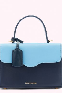 Lulu Guinness Navy And Sky Blue Leather Queenie Handbag