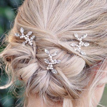 Set Of Three Diamante And Pearl Bridal Pins