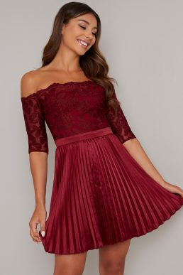 Chi Chi Kaisa Lace Sleeve Pleat Dress Burgundy Red