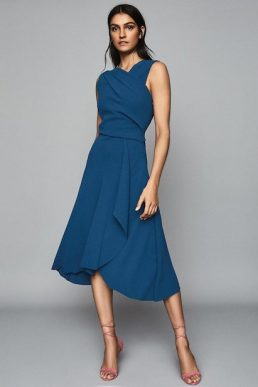Reiss Marling Wrap Front Midi Dress Teal Blue