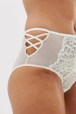 Savage x Fenty lace high waist strappy brief in vanilla white