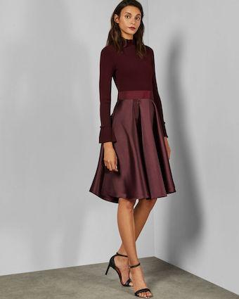 Ted Baker ZADI Frill neck full skirt dress Maroon Red