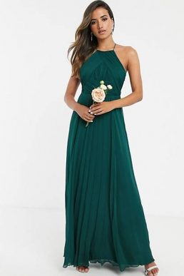 ASOS DESIGN Bridesmaid pinny maxi dress with ruched bodice Green