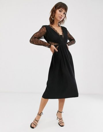 ASOS DESIGN lace and pleat long sleeve midi dress Black