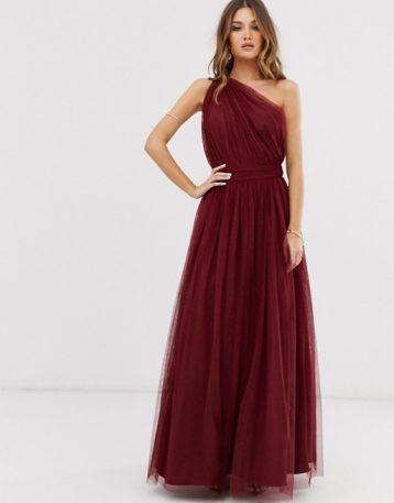 ASOS DESIGN one shoulder tulle maxi dress Oxblood Red