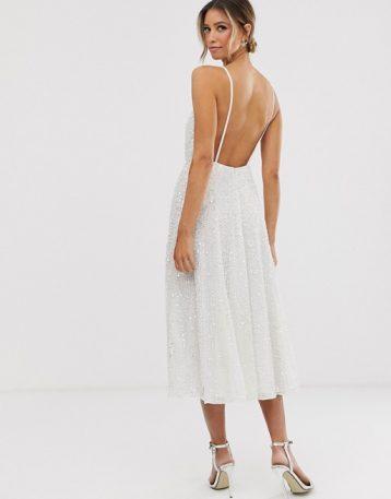 ASOS EDITION embellished cami midi wedding dress Ivory