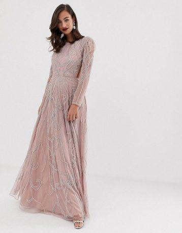 ASOS EDITION nouveau crystal embellished maxi dress Blush Taupe