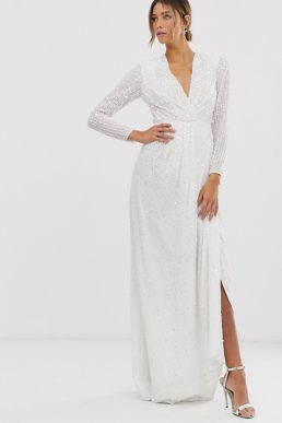 ASOS EDITION pleated plunge wrap wedding dress in sequin Ivory