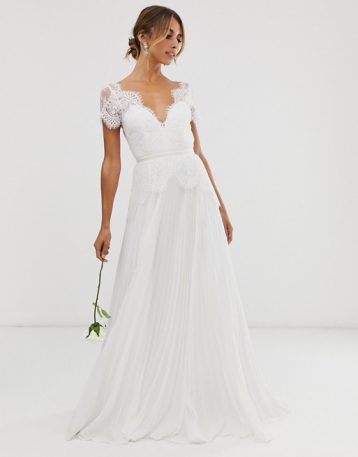 ASOS EDITION plunge lace wedding dress with pleated skirt Ivory