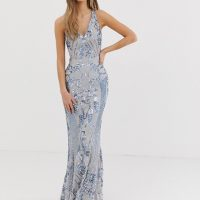 Bariano embellished patterned sequin strappy back maxi dress in silver blue