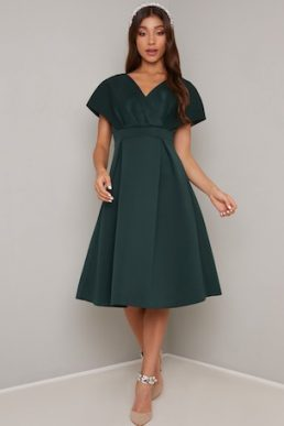 Chi Chi Edel Sleeve Skater Dress Green