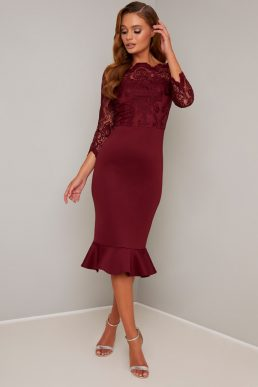 Chi Chi Lace Sleeve Peplum Harlie Dress Burgundy Red