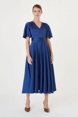 Hobbs Angelina Satin Sleeve Dress Blue