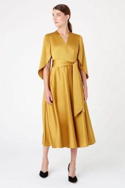 Hobbs Rosa Sleeve Midi Dress Yellow